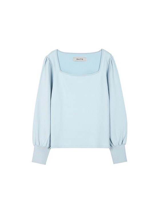 Square Neck Knit in S/Blue