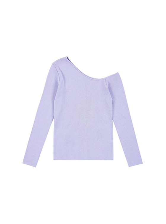 Unbalance Neck Knit in L/Purple