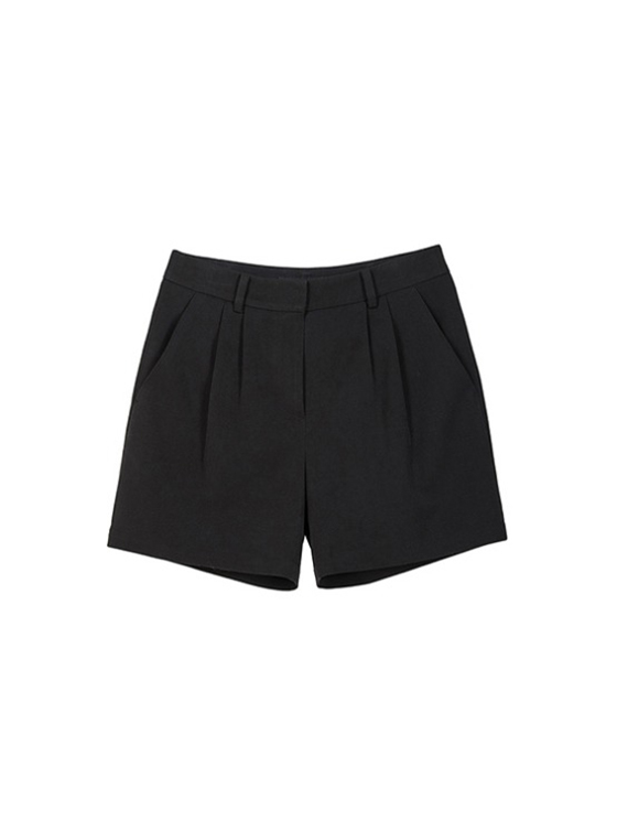 Black Pintuck Shorts in Black VW9SL0110