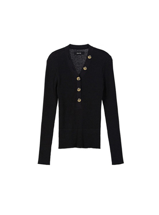 Button V Neck Knit in Black