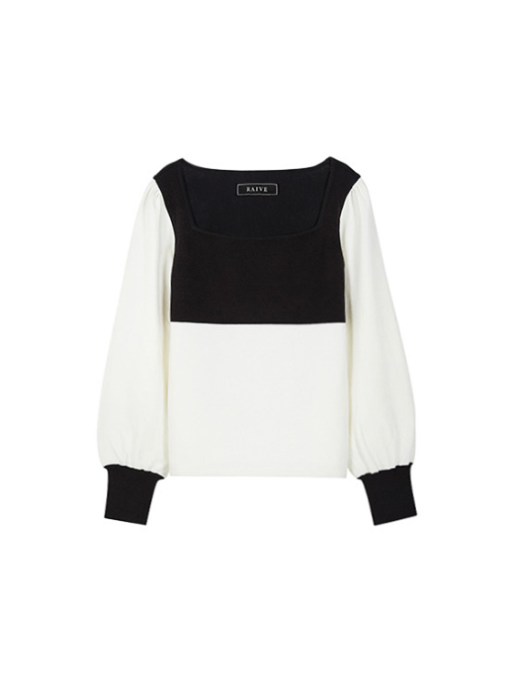Square Neck Knit in Ivory