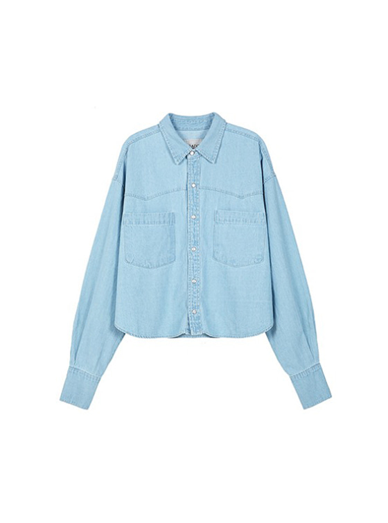 Crop Denim Shirt in Blue