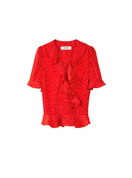 Frill Short Sleeve Blouse in Red VW9SB0130