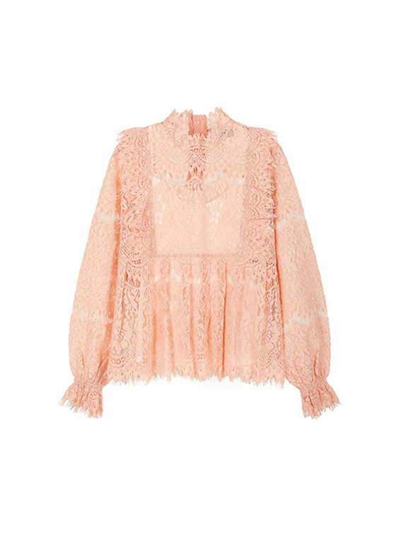 Frill Lace Shirt in Salmon VW9SB0050