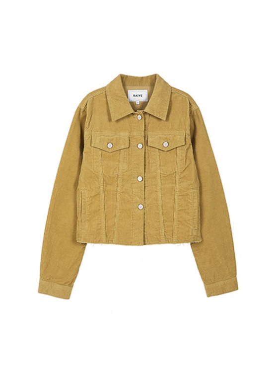 Corduroy Crop Jacket in Beige