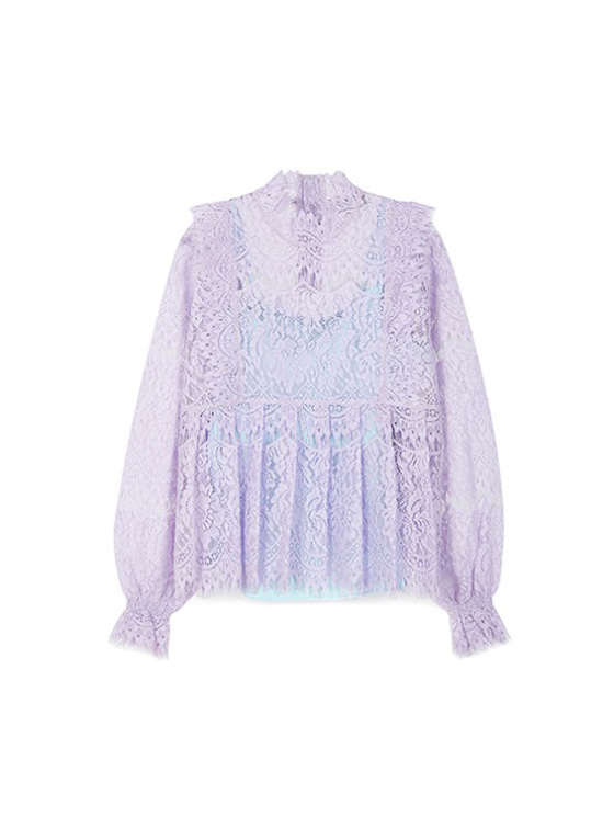 Frill Lace Shirt in L/Purple VW9SB0050
