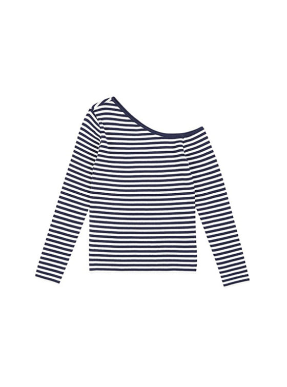 Unbalance Neck Knit in Stripe