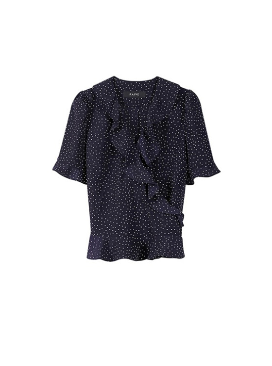 Frill Short Sleeve Blouse in Navy VW9SB0130