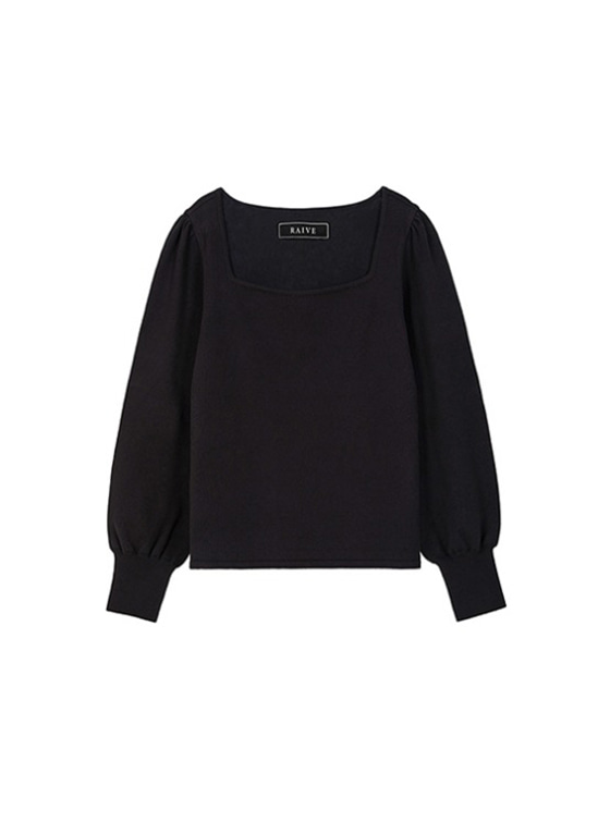 Square Neck Knit in Black