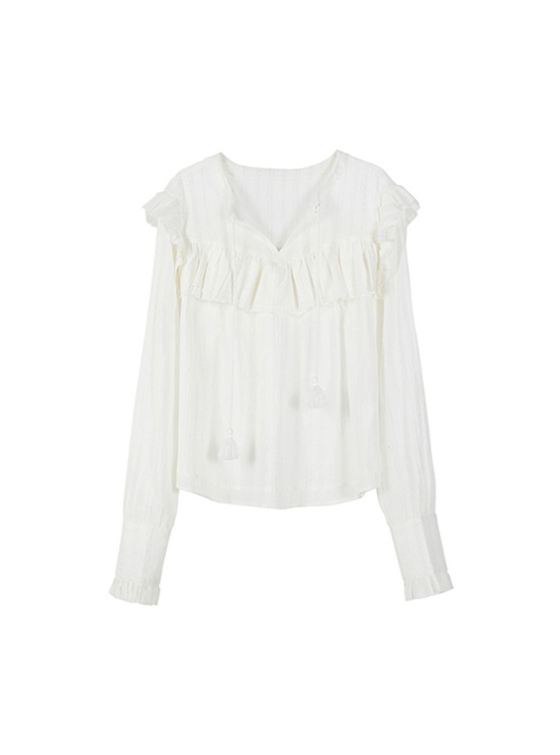 Tassel Gauze Shirt in Ivory VW9SB0040