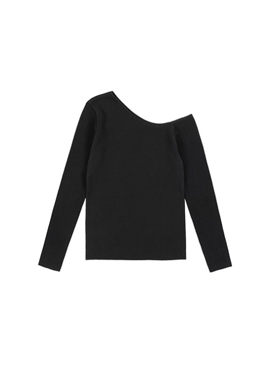 Unbalance Neck Knit in Black