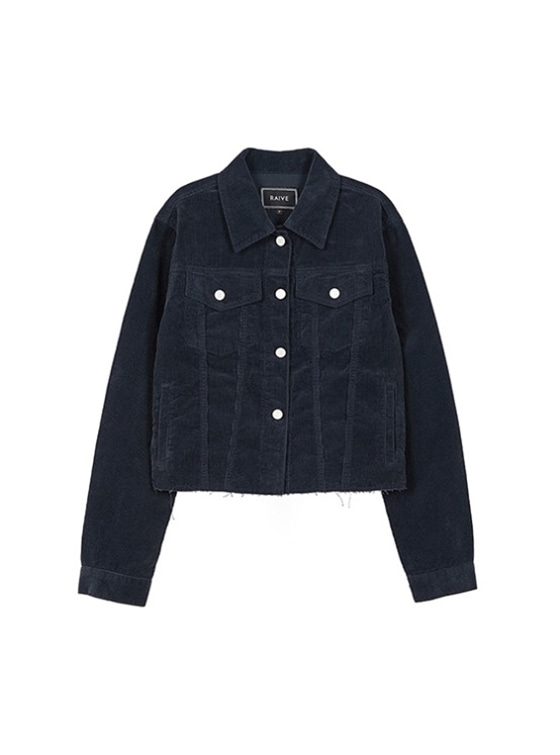 Corduroy Crop Jacket in Navy