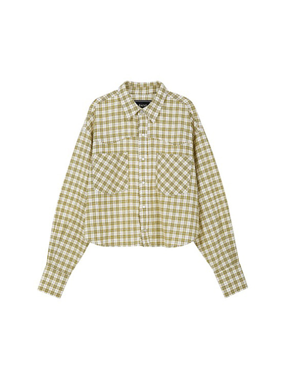 Crop Check Shirt in Yellow
