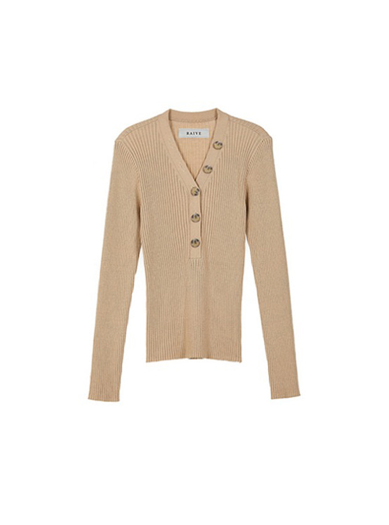 Button V Neck Knit in Beige