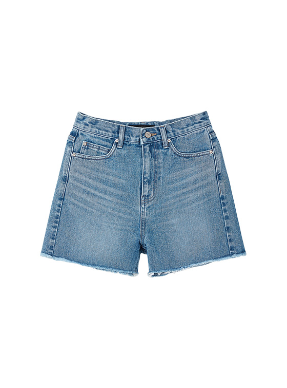 Slim High Waist Denim Shorts in Blue VJ9ML0350