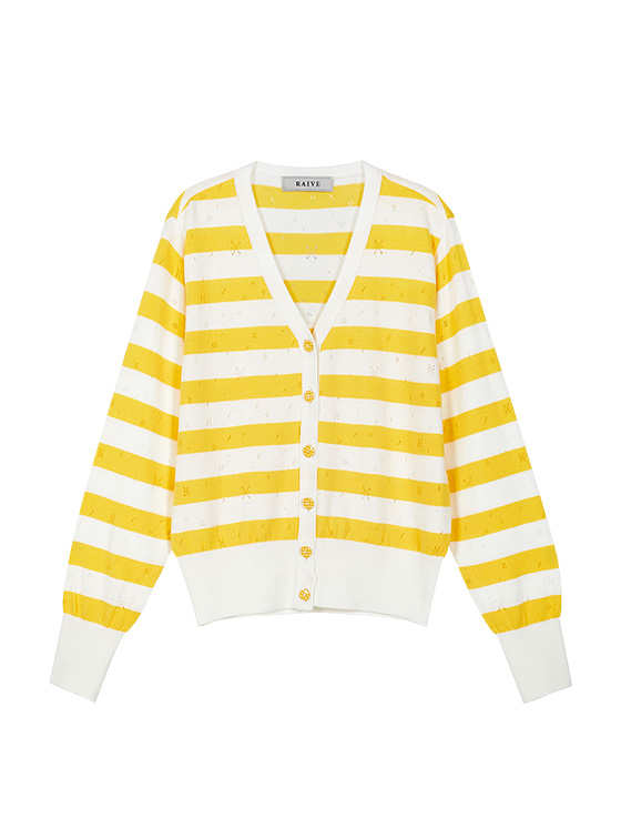 Pastel Stripe Knit Cardigan in Yellow VK9MD0310