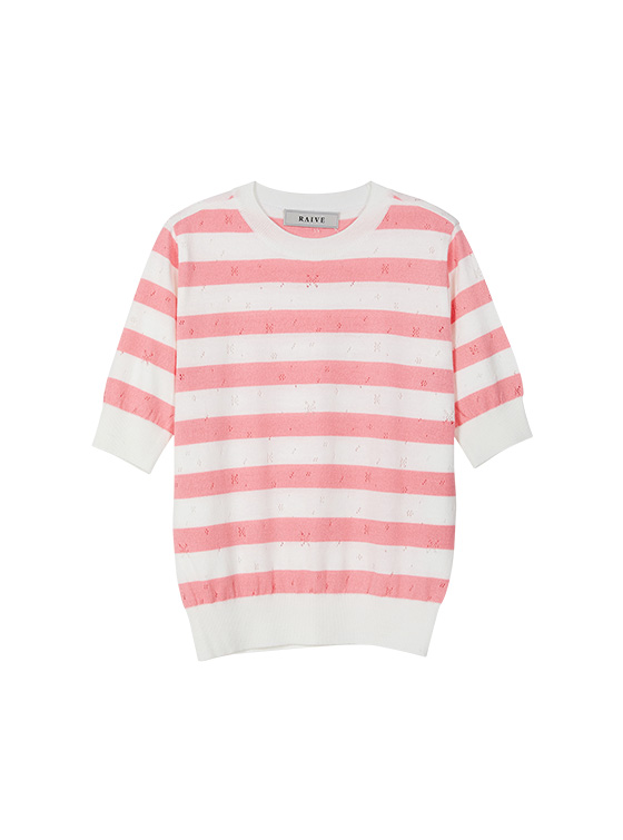 Pastel Stripe Knit Top in Pink VK9MP0300
