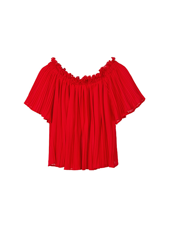 Off the Shoulder Pleated BL in Red VW9MB0900