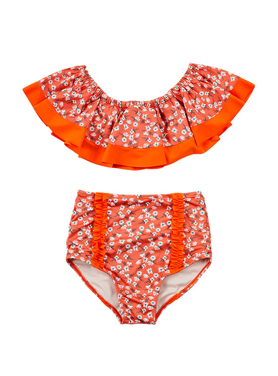 Flower Print Flare Bikini in Orange VW9MX0950