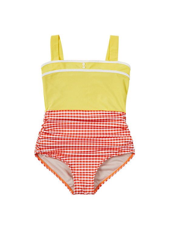 Color Block Vintage OP Swimsuit in Yellow VW9MX0960