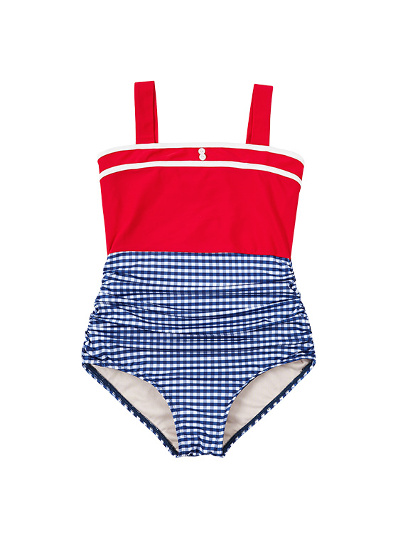 Color Block Vintage OP Swimsuit in Red VW9MX0960