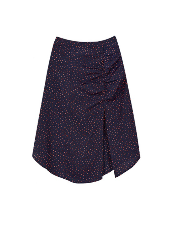 Shirring Midi Skirt in Navy VW9AS0620