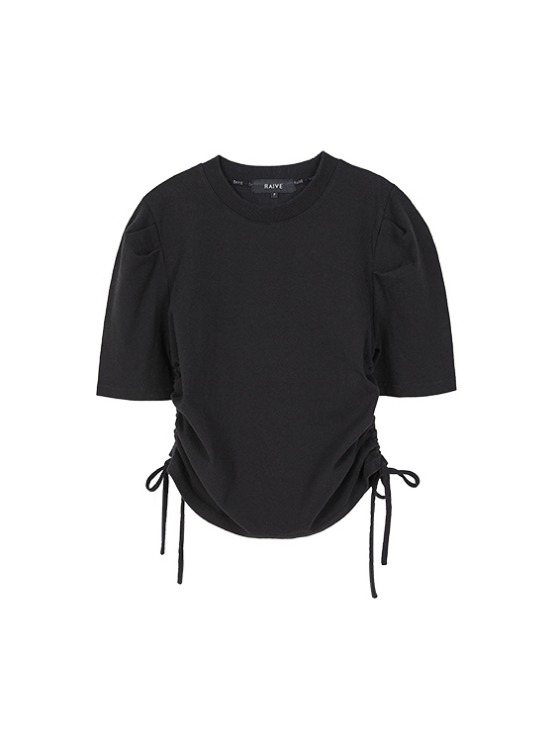 Puff Sleeve Shirring Tee in Black VW9AE0820