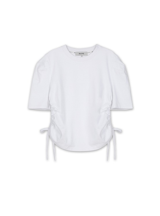 Puff Sleeve Shirring Tee in White VW9AE0820