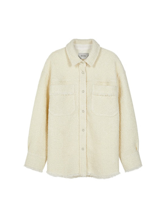 Oversized Tweed Shirt Jacket in White VW9AJ0410