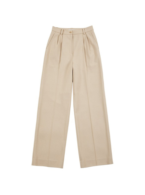 Pintuck Wide Slacks in Beige VW9AL0510