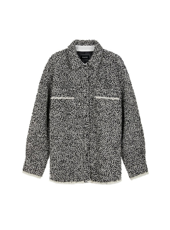 Oversized Tweed Shirt Jacket in Black VW9AJ0410