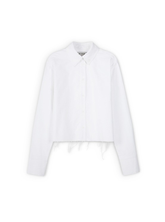 Raw Cropped Shirt in White VW9AB0420