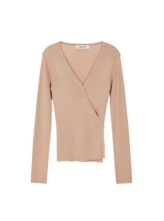 V Neck Wrap Knit in Beige VK9AP0710