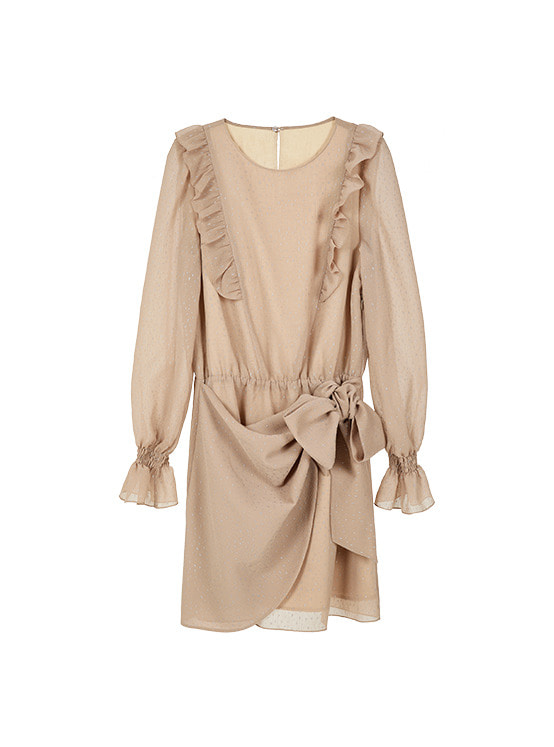 Wrap Frill Ribbon One Piece in Beige VW9WO0630