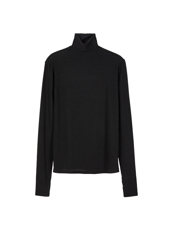 See Through Turtle Neck Top in Black VW9WE0850