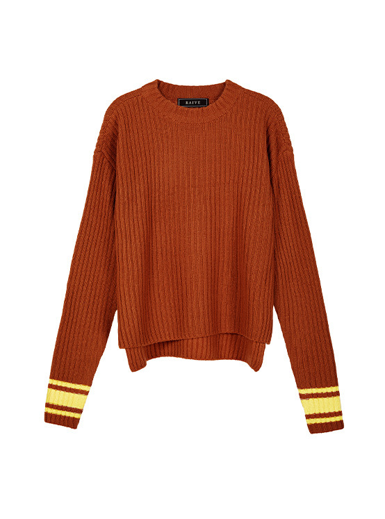 Acrylic Tam High Neck Knit in Brown VK9WP0770