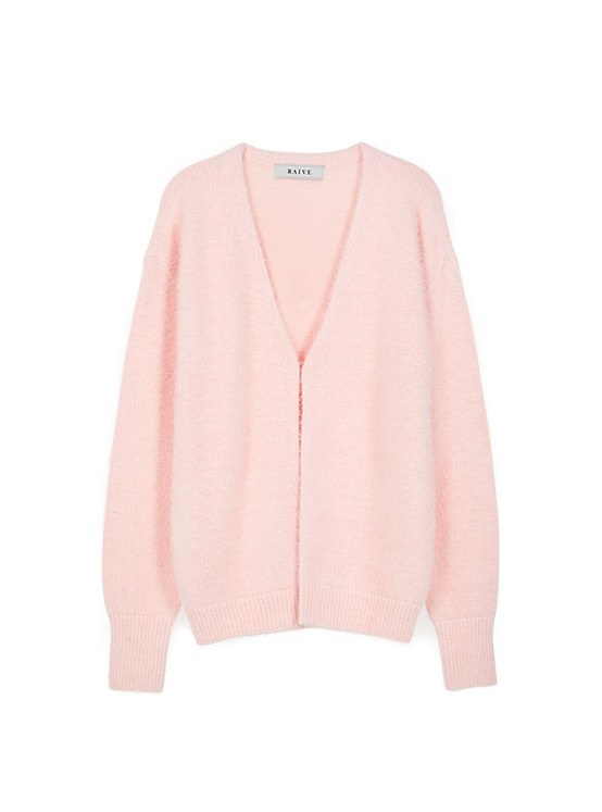 Hairy V Neck Cardigan in L/Pink VK9WD0790