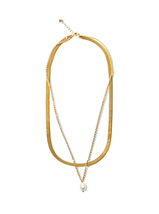 Pearl Layered Necklace in Gold VX0SX0410
