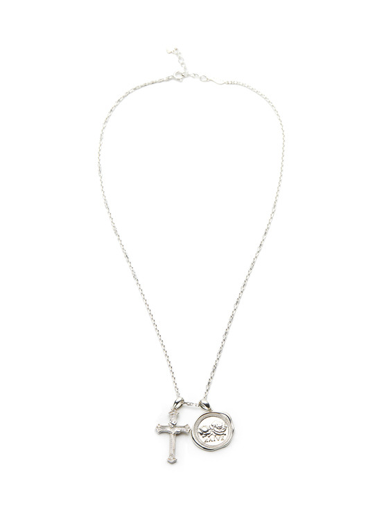 Seal Cross Necklace in Silver VX0SX0440