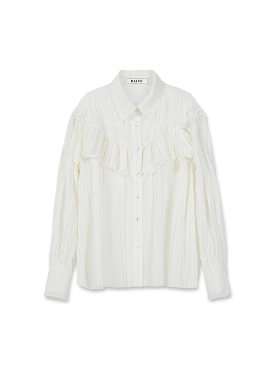 Pleated Gauze Shirt in Ivory_VW0SB1150