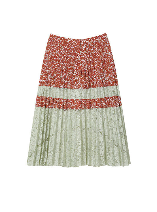 Dot Lace Pleated Skirt in Brown_VW0SS0860