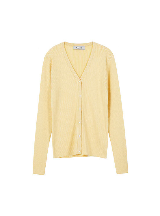 Button Ribbed Knit Cardigan in L/Yellow_VK0SD1240