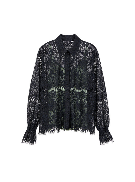 Lace shirt with Camisole in Black_VW0SB1120