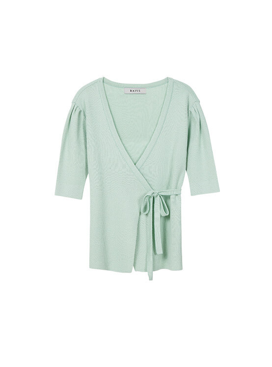 Puff Short Sleeve Wrap Knit in Mint_VK0SP1250