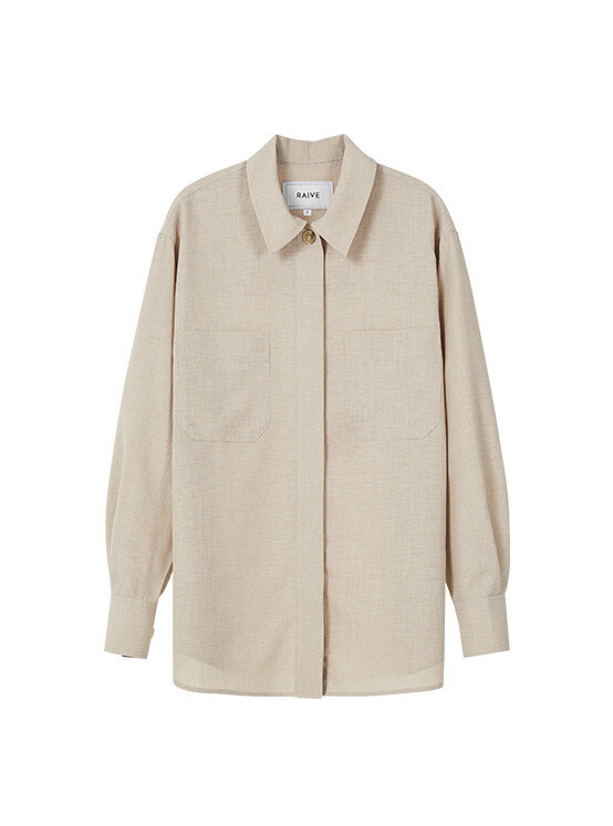 Oversized Stitched Shirt in Beige_VW0SB1060