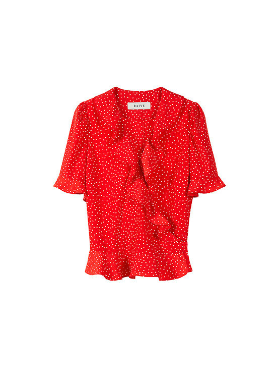 Frill Short Sleeve Blouse in Red_VW0SB1170