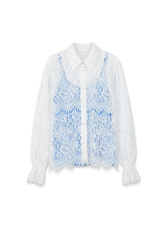 Lace shirt with Camisole in White_VW0SB1120