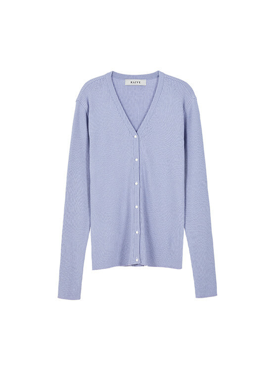 Button Ribbed Knit Cardigan in L/Purple_VK0SD1240