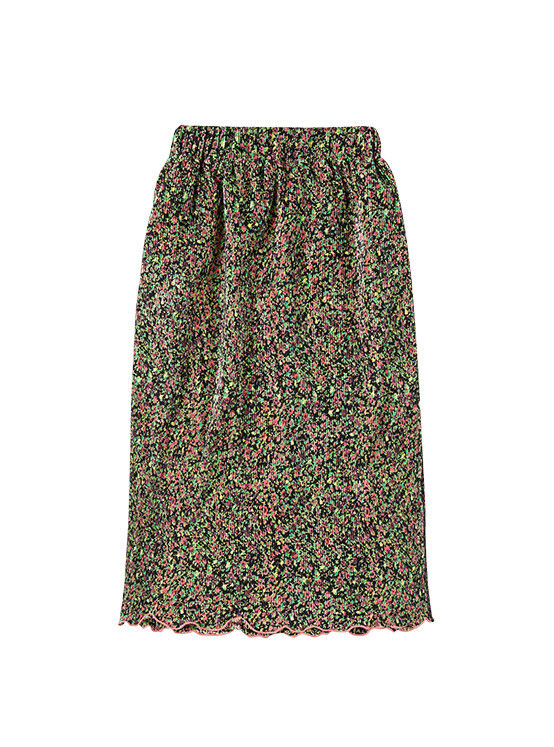 Pleated Floral Skirt in Black_VW0SS0870