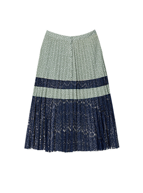 Dot Lace Pleated Skirt in D/Mint_VW0SS0860